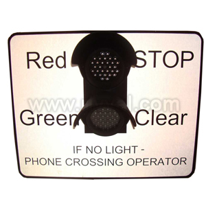 "Miniature Stop Light Led - Wording ""If No Light - Phone Crossing Operator"""