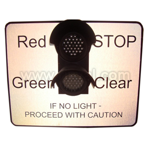 "Led Minature Stop Light - Wording "" Proceed With Caution"""